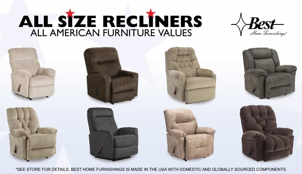 Recliners in all sizes.